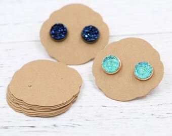Earrings Cards, Display Card, Blank Craft Chipboard Earring Packaging for Handmade Jewelry Sellers,  Ornate Oval Display Card 50x50mm