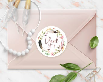 Thank You stickers, Boho Peach Feather Watercolor Wreath, Round Cut Sticker for Etsy Sellers, Wedding Party Matte Lamination Finish,
