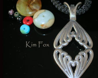 Double Heart Pendant in Sterling Silver designed by Kim Fox Substantial with Large Bail Romantic
