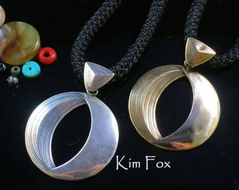 Phases of the Moon Pendant in Sterling Silver or Golden Bronze designed by Kim Fox