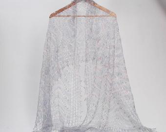 Grey Lace Scarf,knitted lace wool scarf, wedding lace shawl, orenburg lace shawl