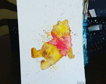 """Winnie the Pooh watercolor painting (5""""x7"""")"""