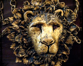 The Lion's Plume Necklace, Lion, Cat, Statement, Sculpted, Main, Feathers, Art, Gold