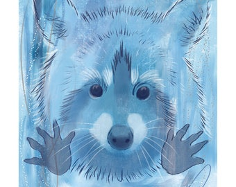 12x16 Inch Nursery Print - Racoon, Blue