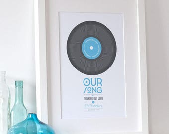 Personalized Print 'Our Song' Gift - Wedding Gift, First Dance, Couples Gift, Music Gift, Wall Art, Home Decor