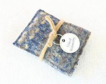 Pocket Hand Warmers BLUE & BROWN Reusable Felted Sweater Wool Handwarmers Rice Bags Ecofriendly Teacher Coworker Kids Gift by WormeWoole