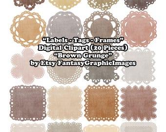 Label Digital Clip Art CU Brown Grunge Distressed 20 Tag Frame Matt Scalloped Lace DIY Clipart Embellishment Scrapbooking Instant Download