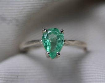 Emerald Ring, Colombian Emerald Solitaire Ring 1.10 Carats Certified At 900.00, Sterling Silver, Genuine Emerald Jewelry, Pear Cut