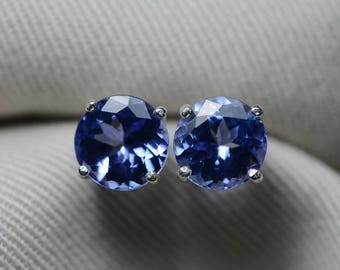 Tanzanite Earrings, Certified 3.76 Carat Round Cut Stud Earrings, Sterling Silver, Real Genuine Natural Blue Tanzanite Jewellery