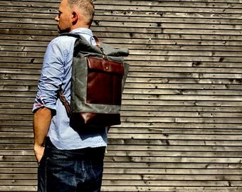 Waxed canvas rucksack / backpack with roll up top and leather bottom and outside pocket COLLECTION UNISEX