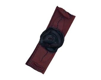 Leather Flower Cuff - Applique leather - Burgundy bracelet - Rustic leather flower - Statement bracelet - non metal bracelet - Boho cuff