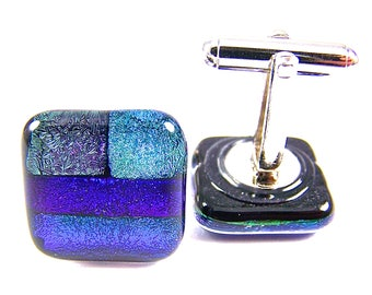 "Cuff Links - Dichroic Purple Green Blue Teal Violet Amethyst Emerald Sapphire Navy Dichro Squares Patchwork Patterned Fused Glass - 3/4"" 2cm"