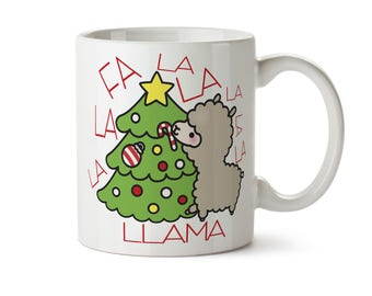 Fa la la la llama, Llama Mug, Christmas Llama Mug, Gift for Girlfriend, Funny Christmas Mug, Llama Gift, Llama Lovers Gift, Llama coffee mug
