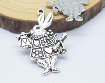 10pcs 25x36mm Antique Silver Mr. Rabbit Jazz Alice Charm Pendant c8516