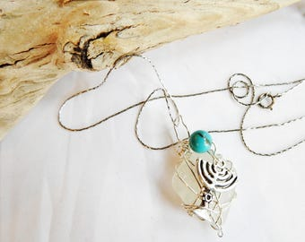 Bat Mitzvah Gift, Sea Glass Necklace, Judaica Jewelry, Genuine Seaglass, Sterling Silver Wirewrapped Seaglass, Lucky Sea Glass Jewelry