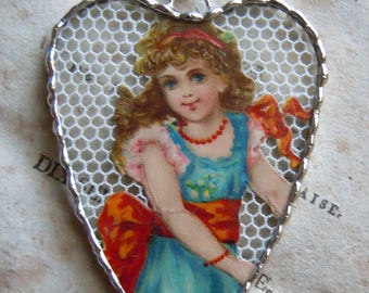Fiona & The Fig - Antique Victorian - Beautiful Young Girl - Soldered Charm - Necklace - Pendant-Jewelry