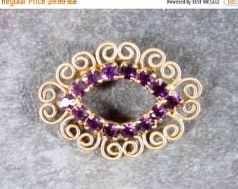 25% Off Vintage Filigree Purple Rhinestone Pin