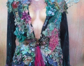 20%OFF woodland jacket, boho coat, gothic jacket, mori girl, gypsy, hippy coat, gypsy jacket, velvet coat, bohemian jacket, wildskin, OOAK