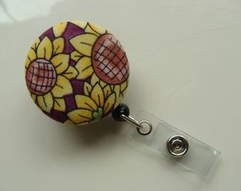 Retractable Badge Reel - Sunflowers on Purple
