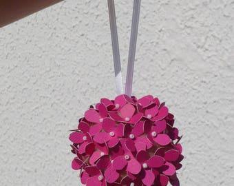 Bouquet boule d'hortensia fushia pour baptême enfant ou demoiselle d'honneur