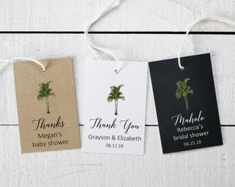 Vintage Palm Tree Favor Tags | Tropical Favor Tags | Shower Favor Tags | Bridal Shower Tags | Wedding Favor Tags | Tropical Tags - Set of 18