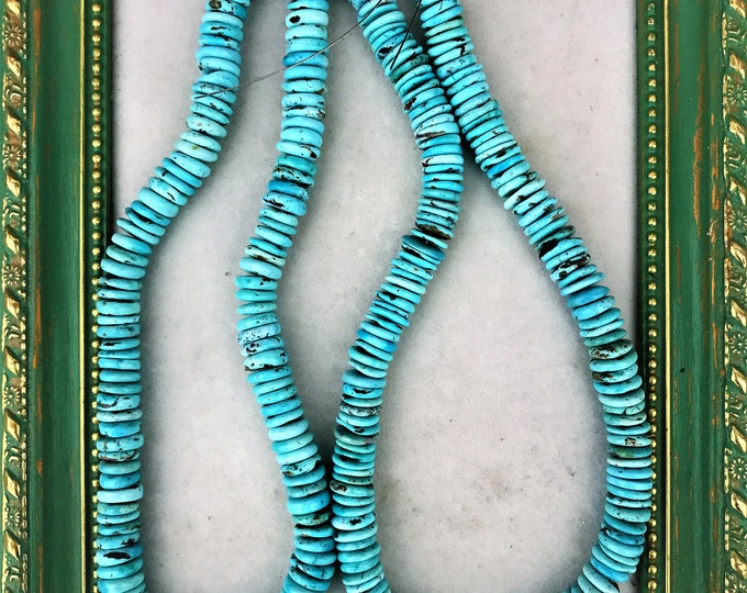 Genuine Campitos Turquoise Beads, Turquoise Rondell Bead Strand, Mexican Turquoise Beads