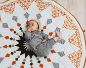 Boho baby play mat,  baby roundie, round play mat, tummy time rug, nursery baby blanket, flatlay play rug, baby shower gift, boho nursery