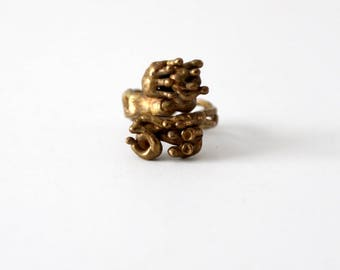 70s brutalist bronze ring, vintage jewelry