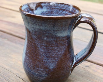 Light Blue Pottery Mug Handle NC Pottery Coffee Mug