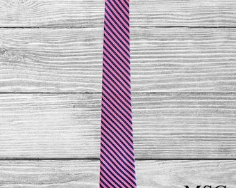 Tie - Mens -  Navy/Pink Stripe