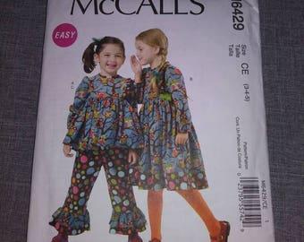 McCall 6429 girls dress and pants Pattern, UNCUT, sz 3-4-5 easy