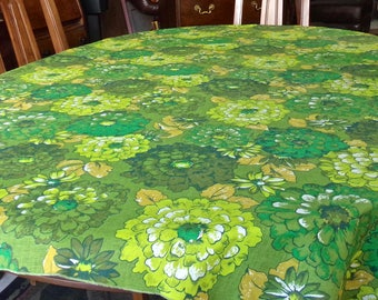 Vintage Bright Green Tablecloth Cotton Floral Rectangular Table Cover 1980s