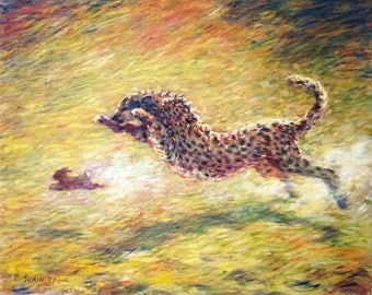 """Cheetah, oil painting on canvas, 24"""" x 30"""", by Surin. Free shipping."""