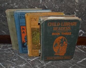 Vintage Grade School Readers~Readers,~1930's,1930's Readers, Books~School Books, Props , Decor