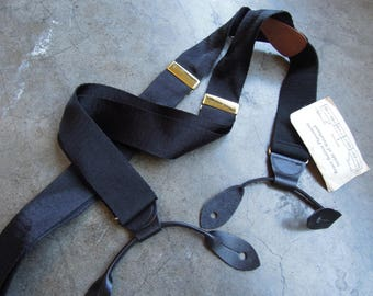 Vtg English Thick Silky Black Ribbon and Black Leather Braces Suspenders Brass Made in England