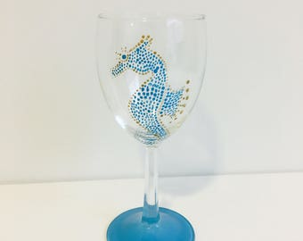 Seahorse Wine Glass (hand painted)
