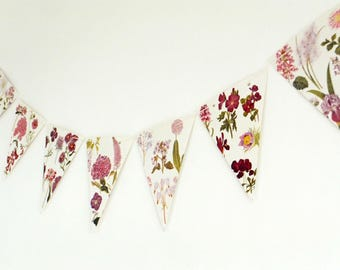 Botanical Bunting, recycled Garland, floral banner, up-cycled bunting, wedding decor, dusky pink flower garland