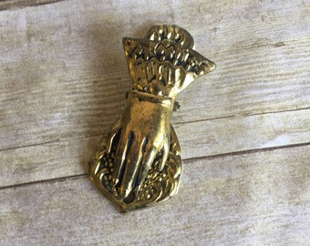Vintage Brass Hand Clip - Paperweight - Paper Weight
