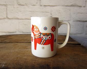 Vintage Berggren Mug Dala Horse Swedish Mug