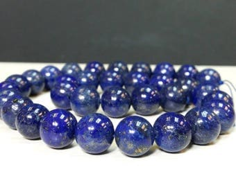 Wholesale 12 mm. Natural Blue Lapis Lazuli Stone - Smooth Round Beads - Full Srand Ship within 24 Hr. from USA (G4853R46Q3)