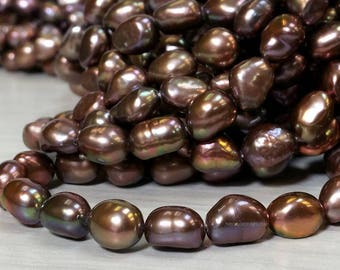 High Luster 6 to 7 x 8 to 10 mm. Freshwater Pearl Baroque Beads Chocolate Brown with Rainbow Luster Ship within 24 Hr. from USA (G4748W22Q3)