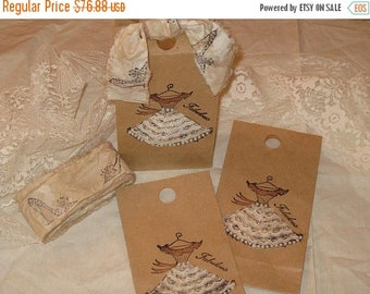 March Sale Listing for 25 bags Vintage Sex in the City Dress Gift Bag with Fabulous Vintage Adorned Lace and Pearl Dress Tied up with Vintag