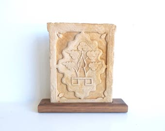 Carved Sandstone Panel with Stand India Style Mughal Style