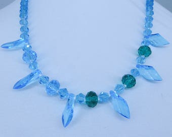 Crystal Tear Drops in Two Shades Glass Necklace
