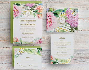 Watercolor Floral Wedding Invitation, Printable Spring Floral Wedding Invitation, Garden Wedding Invite, Outdoor Wedding