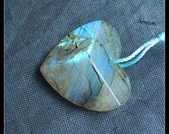 Faceted Heart Pendant,Labradorite Gemstone Pendant Bead,23x25x7mm,5.35g(f0026)