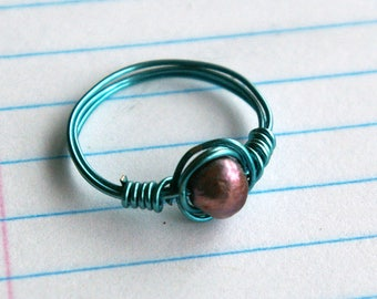 Small Purple Pearl and Teal Wire Ring