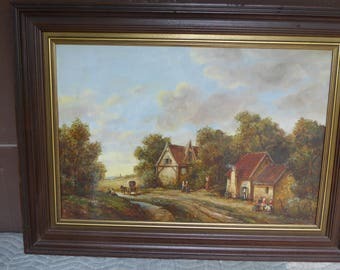 Large Vintage Oil Painting Dutch Cottage on Country Road
