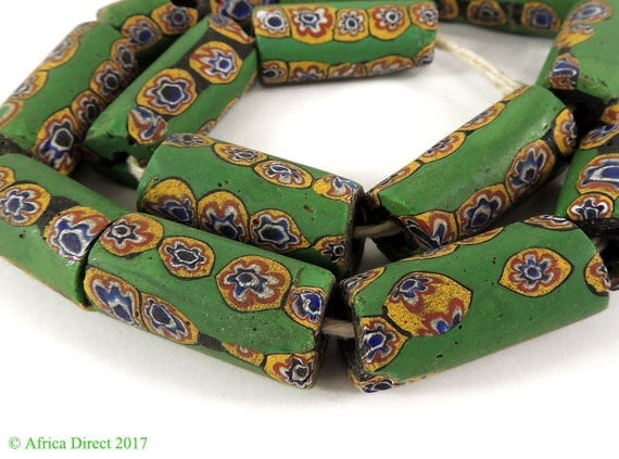 13 Millefiori Venetian Trade Beads Green Africa Rare Loose 117316