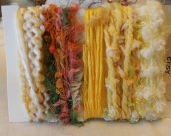 Specialty yarn art fiber embellishment bundle, sunshine yellow